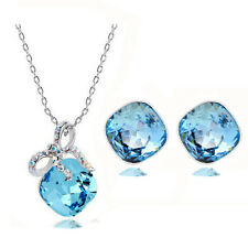 Elegant Blue Crystal Rhombus with Bow Jewellery Set Earrings & Necklace S325