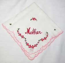 VINTAGE HANDKERCHIEF--MOTHER--PINK--EMBROIDERED