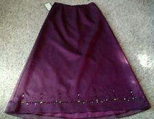 ANN TAYLOR Plum Iridescent Bead Long Layered Evening Dress Skirt Silk Sz 12 NWT