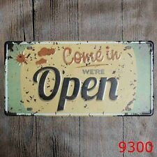 Metal Tin Sign we are open Decor Bar Pub Home Vintage Retro Poster Cafe ART