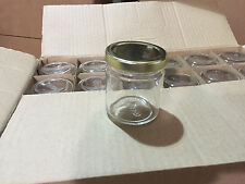 "Lot of 48 ""Straight Side"" Glass JARS for CANDLES Jelly Jam 4 oz (With Gold Lids)"