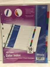 BAZIC 3-Ring Binder Dividers with 10 Color Tabs Free shipping Brand New -3107