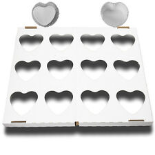 24 White Heart Shaped Cupcake Cases with 1 Baking Tray Valentines Love Baking