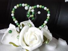 BRIDESMAID HANDMADE WAND IVORY ROSES AND A HEART OF GREEN PEARLS
