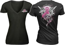 WOMENS HARLEY ANGEL CANCER PINK RIBBON RIDE FOR A CURE T SHIRT SMALL S BLACK
