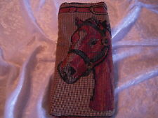 Artisan Treasures Handcrafted Horse Head Plaid Tapestry Large Glass Case NEW