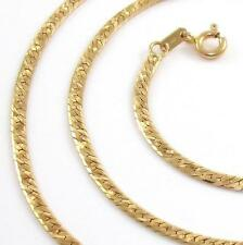 14K Yellow Gold Italy Flat Snake Chain Necklace 18""