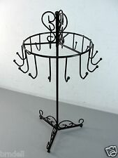 BLACK METAL STEEL JEWELRY NECKLACE TREE COUNTER DISPLAY STAND SPINNING HOLDER