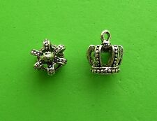 12x 3D Royal Crown Jewels King Queen Princess Tibetan Silver Charm Pendant