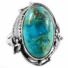 Native American Setting - Blue Turquoise 925 Ring Size Uk S Us 9