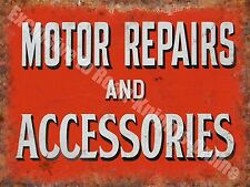Motor Repairs and Accessories, 143 Vintage Old Car Garage, Small Metal/Tin Sign