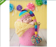 Hot Newborn Baby Multi-colored Hat Cap Crochet Knitted Photography Photo Prop