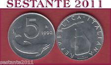 A26  ITALY ITALIA  REPUBBLICA ITALIANA  5 LIRE 1990  KM 92  FDC/UNC  DA ROTOLINO