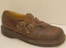 sz 7 ladies brown leather DR MARTENS double buckle 2 strap mary-jane shoes UK 5