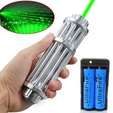 Military 532nm 1W Powerful Green Laser Pointer Pen Beam Light&18650+Dual Charger