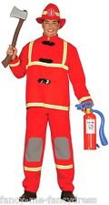 Mens Red Fireman Firefighter Job Uniform Fancy Dress Costume Outfit Size Large