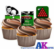 12 x Snooker Table Keep Calm Play Snooker Mix Edible Cup Cake Toppers Stand Ups