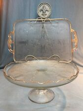 Jeannette Glass Co Harp & And Lyre Cake Plate Stand Serving Tray 22k Gold Trim