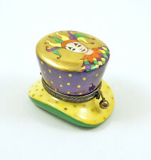 NEW FRENCH LIMOGES TRINKET BOX COLORFUL CARNIVAL MASQUERADE HAT W CLOWN & GOLD