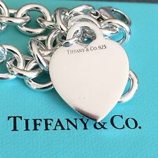 Tiffany & Co Silver Heart Tag Bracelet with Box