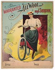 FABRIC CLOTH BOLT LABEL VINTAGE BICYCLE FASHION C1910 GIRL MESSENGER ORIGINAL