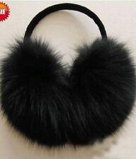 Fox fur Ear muffs earmuffs black handmade/hat/cap/scarf
