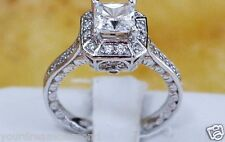 Yellow or White Gold 2 CT Princess 14K Man Made Diamond Engagement Ring