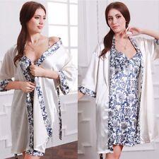 Women Night Bath Robe Sexy Lingerie Sleepwear Silk Nightwear Dress+Gown 2pcs/Set