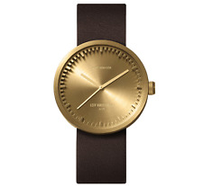 NEW LEFF AMSTERDAM TUBE WATCH D38 WITH BROWN LEATHER STRAP ANALOG DISPLAY BRASS