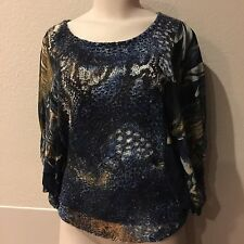 Alberto Makali SZ Medium Blue Animal Print Batwing sleeve cropped shirt, top
