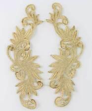 1 Pair Golden Floral Flower Motif Fabric Venise Lace Trims Sewing Craft Applique