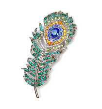 Peacock Feather Pin Brooch Multicolors Rhinestone Crystal