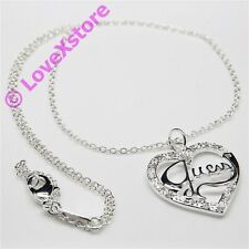 925 Sterling Silver Plated Guess Charm Chain Necklace Necklaces Free Shipping!