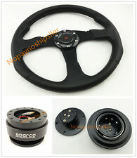 350MM Universal BLK 6 BOLT Racing STEERING WHEEL & Quick Release & HORN BUTTON