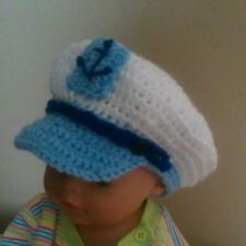 Crochet newborn boys sailor hat cap photo props
