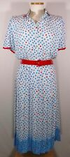 Vintage Women's White Polka Dot Dress Blue & Red Dots 50s 60s Style by Schrader