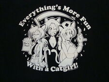 """Everything's More Fun With a Catgirl"" Anime Style Black T Shirt M"