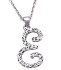 Clear Crystal Cursive Writing Initial Letter E Pendant Necklace Women Jewelry