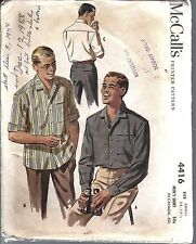 Vintage McCalls Sewing Pattern 1950's Mens Button Front Shirt 4416 Small OOP SEW