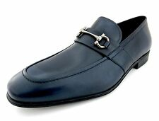 Salvatore Ferragamo Germain mens blue loafers shoes 13 D(M) US made in Italy