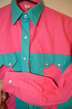 ROCKMOUNT Ranch PINK TURQOISE Rodeo Cowgirl COUNTRY WESTERN Diamond SNAP S Shirt