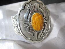 Handmade Navajo Sterling Silver 90 grams Native American Oyster Bracelet signed