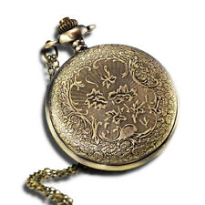 "Vintage Antique Pocket Watch with 31""Chain in Antique Bronze Gold Finish"