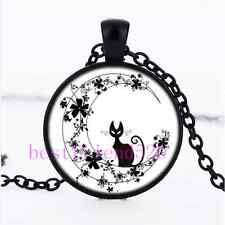 Black Cat In Flower Moon Cabochon Glass Black Chain Pendant  Necklace
