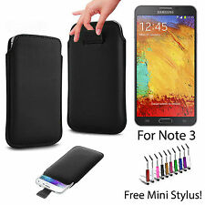 BLACK SOFT LEATHER PULL UP CASE COVER POUCH SLEEVE FOR SAMSUNG GALAXY NOTE 3