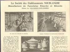 36 VILLEDIEU-SUR-INDRE MANUFACTURE DE PORCELAINE BLANCHE ETS NOUBLANCHE 1926