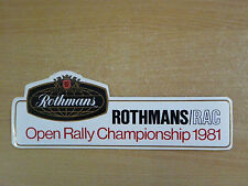 1981 Rothmans / RAC Open Rally Championship  Motorsport Sticker Decal