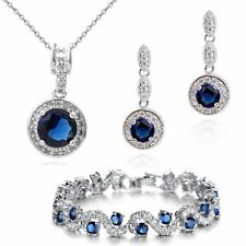 18K Gold GP Blue Sapphire Swarovski Crystals Set Necklace Earrings Bracelet