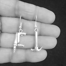 Gorgeous Hand Drill and Hammer Silver Dangle Earrings.