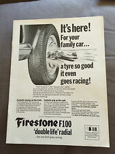 VINTAGE 1960s FIRESTONE F100 DOUBLE-LIFE RADIAL TYRES CAR ORIGINAL ADVERT